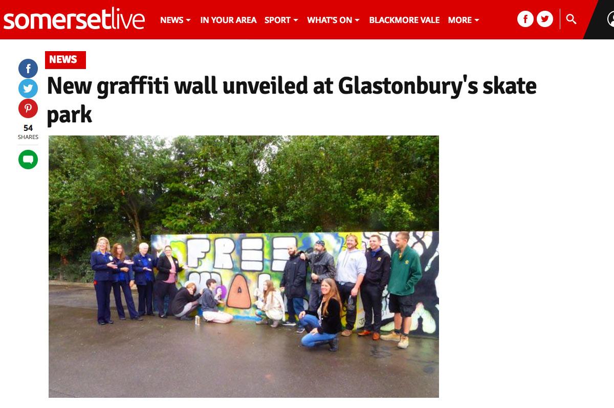 Glastonbury Skate Park Graffiti wall
